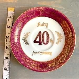 Vintage Accents - Vtg 40th Ruby Anniversary Collectible Plate AB-422